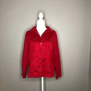 Chico's Red Long- Sleeved Blouse Size 1